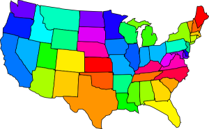 multicolored map of the United States